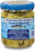 Filetti di branzino selvaggio in olio extra vergine di oliva Compagnia della pesca tradizionale